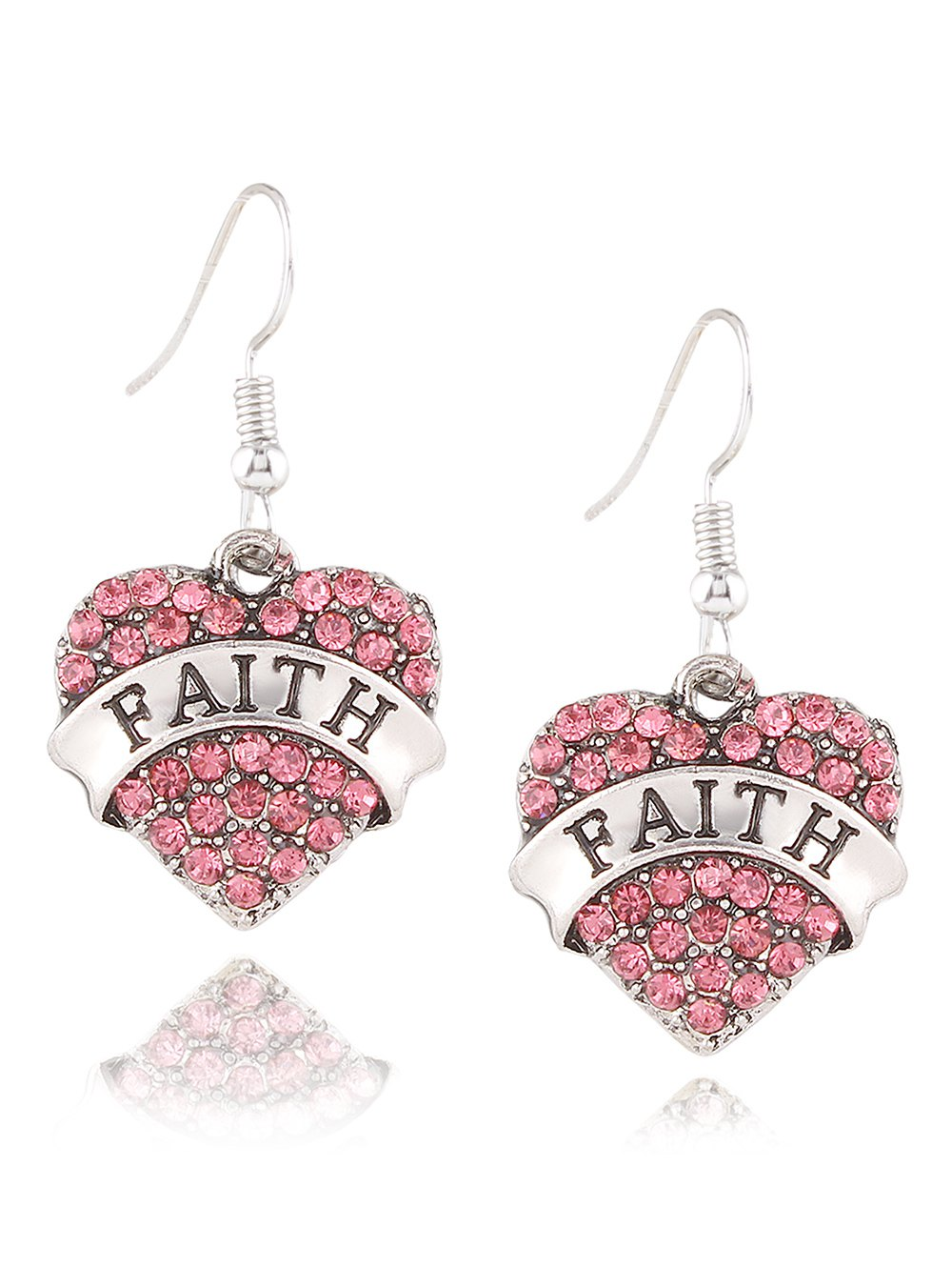 Rhinestone Engraved Faith Heart Drop Earrings