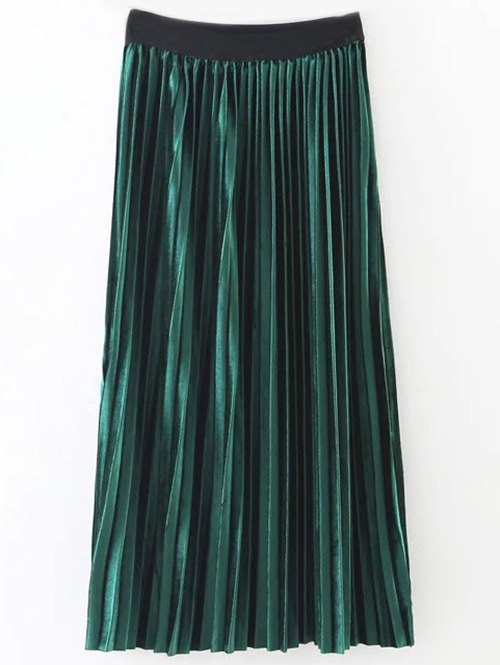 Shiny Pleated Midi Velvet Skirt