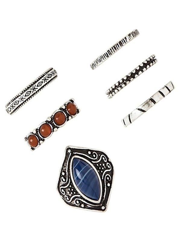 Faux Gem Carved Ring Set