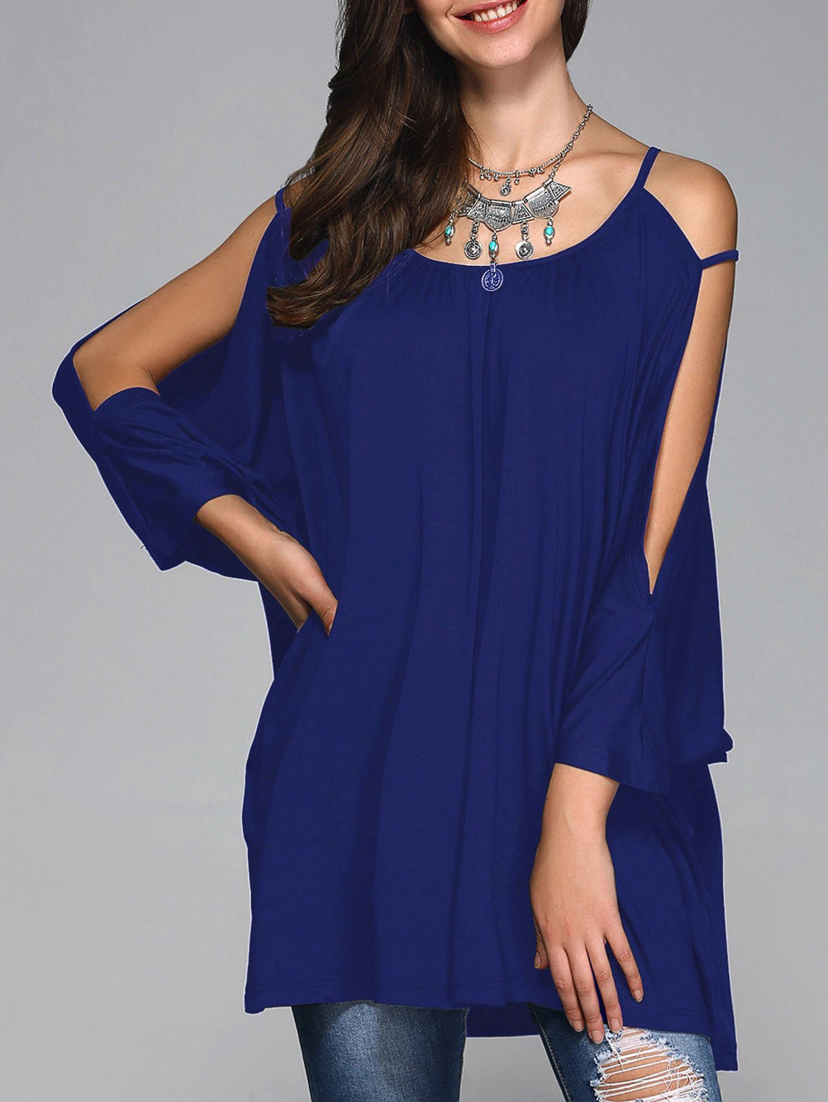 Slit Sleeve Long Smock Blouse