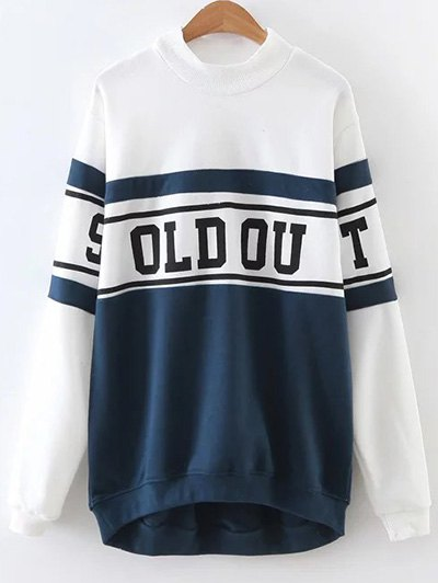 Color Block Letter Print Oversized Sweatshirt