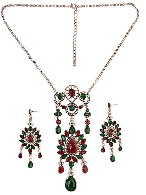 Floral Teardrop Necklace SetAccessories<br><br><br>Color: GREEN