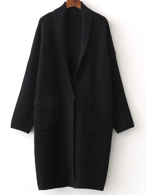 Shawl Collar Pockets Back Slit Cardigan