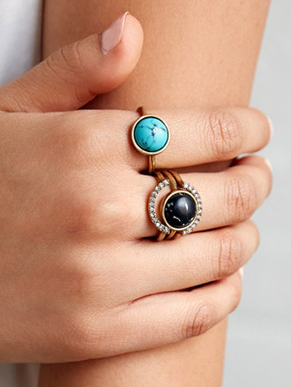 Rhinestone Circle Faux Gem Ring Set