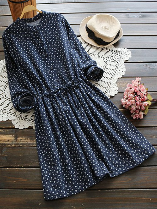 Long Sleeve Tiny Floral Shirt Dress