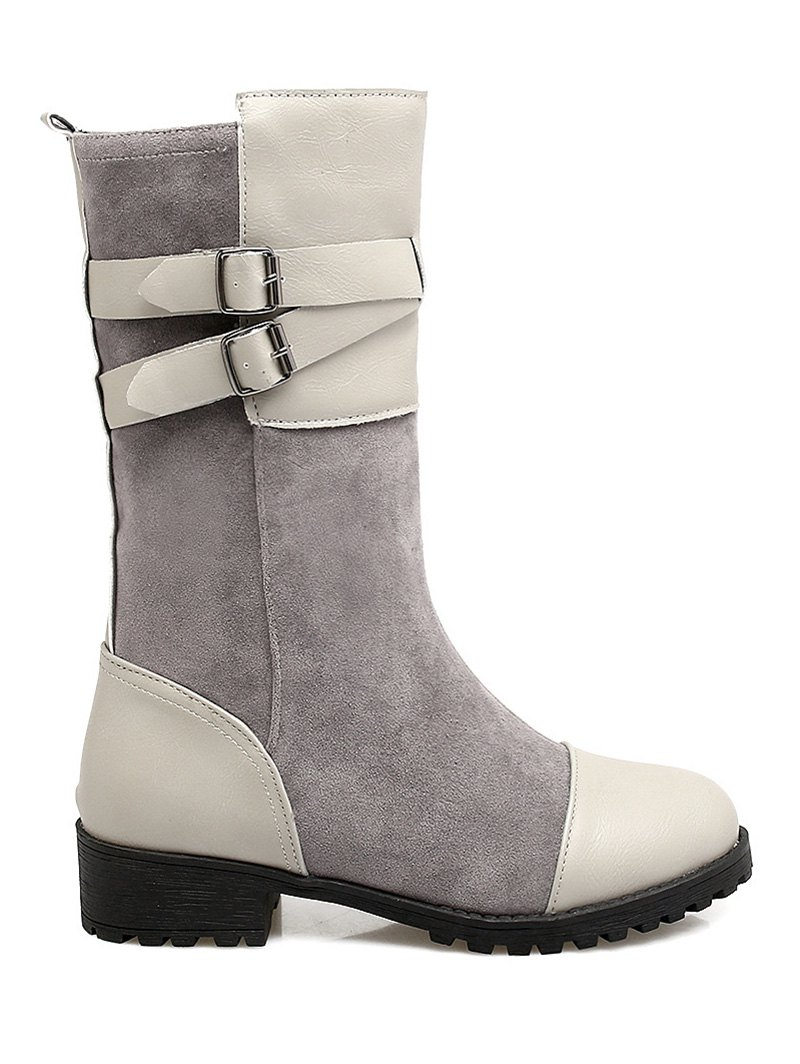 Cross Straps Double Buckle Mid-Calf Boots