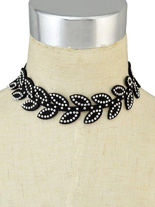 Rhinestone Leaf Choker Necklace