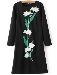 Floral Embroidery Sheath Dress
