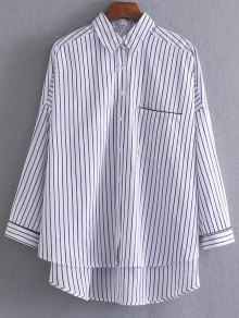 Loose High-Low Shirt - White And Black L
