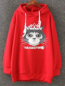 Plus Size Fleece Cartoon Cat Print Hoodie - Red 3xl