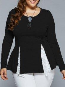 Plus Size Asymmetric Lace Spliced Blouse - Black 3xl