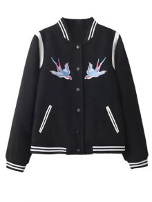 Snap Button Embroidered Baseball Jacket