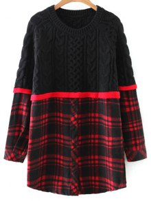 Checked Cable Knit Sweater