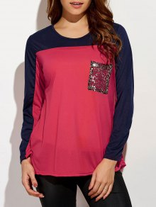 Color Block Sequined T-Shirt - Red S