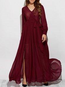 See-Through Slit V Neck Long Sleeve Maxi Dress - Wine Red