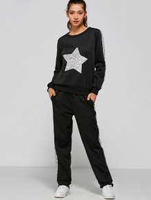 Slivery Star Sequin  Sweatshirt With Side Patchy Pants - Black S