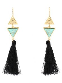 Artificial Turquoise Tassel Triangle Earrings - Green
