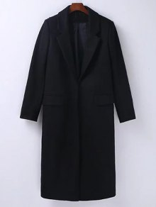 Wool Blend Masculine Coat - Black S