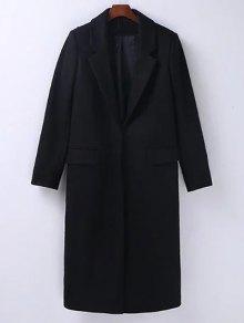 Wool Blend Masculine Coat - Black M