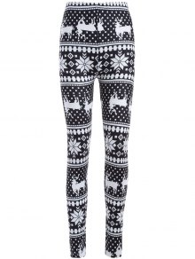 Christmas Deer Snowflake Print Leggings - White And Black