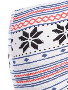 Snowflake Print Christmas Leggings - WHITE ONE SIZE