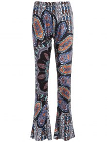 Printed Flare Trousers - Cyan And Grey