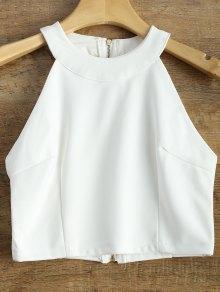 Jewel Neck Zippered Top - White