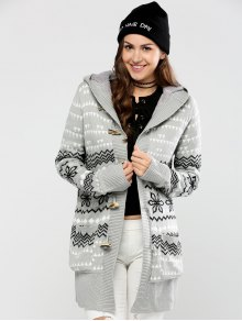 Geometric Horn Button Hooded Cardigan - Gray S