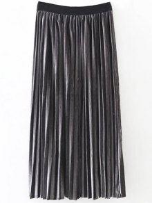 Pleated Velvet Skirt - Deep Gray