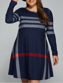 Vertical Plus Size Striped Tee Dress - Purplish Blue 5xl