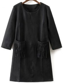 Fringed Pockets Faux Suede Dress - Black S