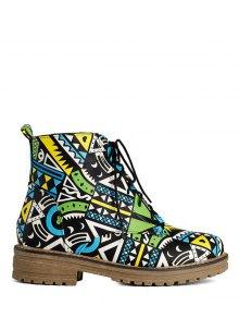 Buy Patchwork Flat Heel Tie Ankle Boots 39 JADE GREEN