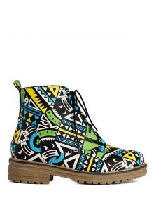 Buy Patchwork Flat Heel Tie Ankle Boots 37 JADE GREEN