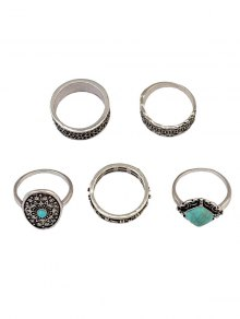 Medallion Carved Ring Set - Silver