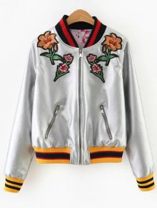 Embroidered Metal Colour PU Leather Jacket - Silver M