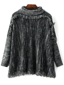 Space Dyed Turtle Neck Tassel Sweater
