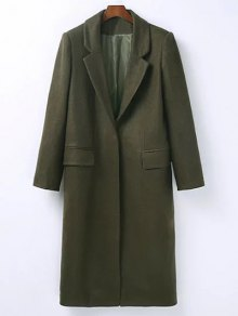 Wool Blend Masculine Coat - Army Green S