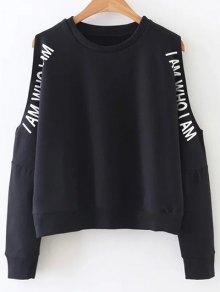 Cold Shoulder Text Print Sweatshirt - Black L