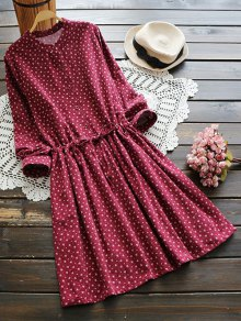 Drawstring Waist Tiny Floral Shirt Dress