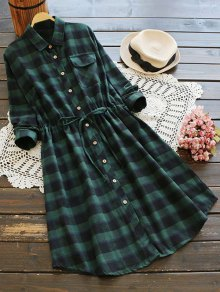 Drawstring Design Plaid Shirt Dress