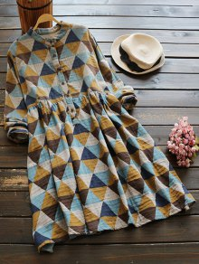 Geometric Print Long Sleeves Shirt Dress