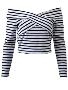 Striped Off Shoulder Front Criss T-Shirt - White