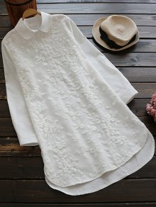 Buttoned Embroidered Blouse Collared Shirt