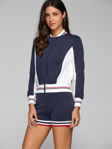 Active Shorts And Baseball Jacket Set - Navy Blue