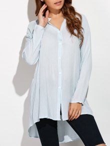 Crinkly Three Quarter Sleeve Shirt Dress