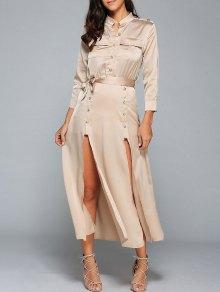 Double Slit Trench Military Dress - Khaki L