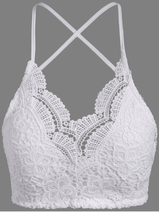 Lace Padded Bra Top - WHITE ONE SIZE Mobile