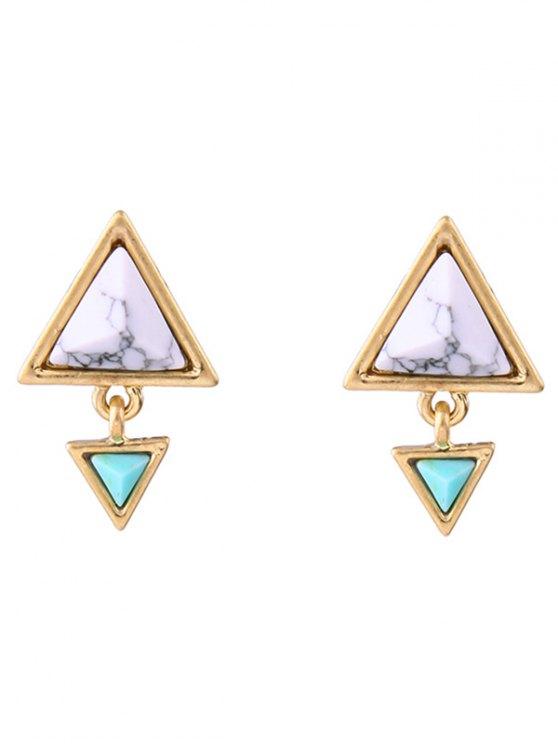 Geometric Triangle Faux Gem Stud Earrings - GOLDEN  Mobile