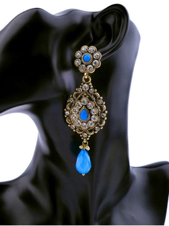 Aretes Gota Zafiro Falso y Brillantes - Azul