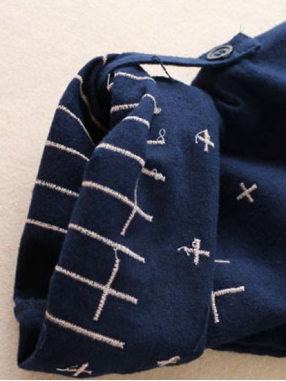 Patch Pocket Embroidered Shirt Dress - DEEP BLUE ONE SIZE Mobile